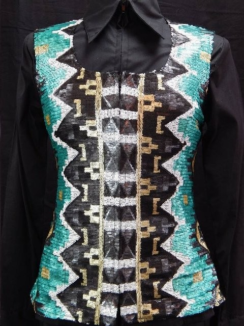 MKC Aztec Sequin Vest - Teal, Black, White, and Gold