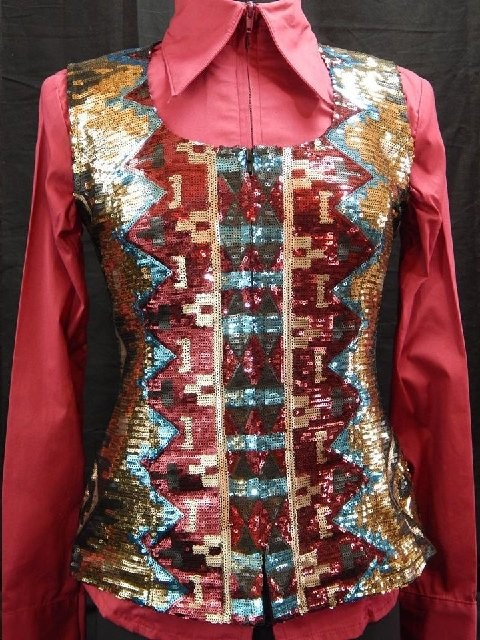 MKC Aztec Sequin Vest - Gold, Turquoise, and Burgundy