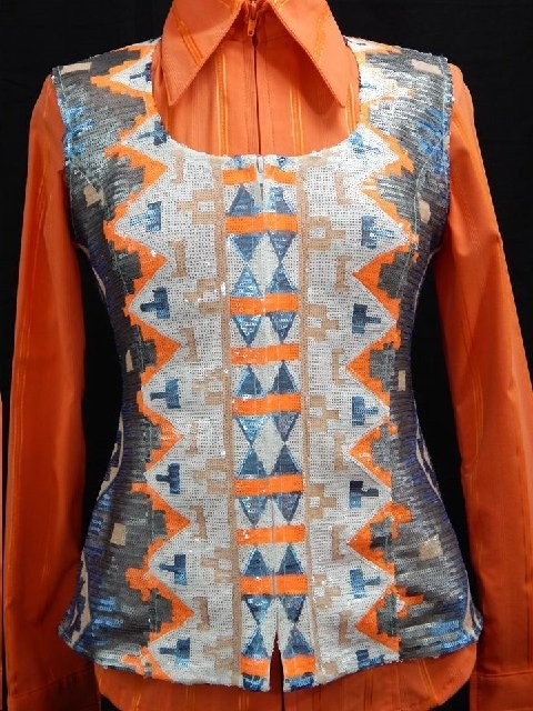 MKC Aztec Sequin Vest - Silver, Orange, Blue, and White