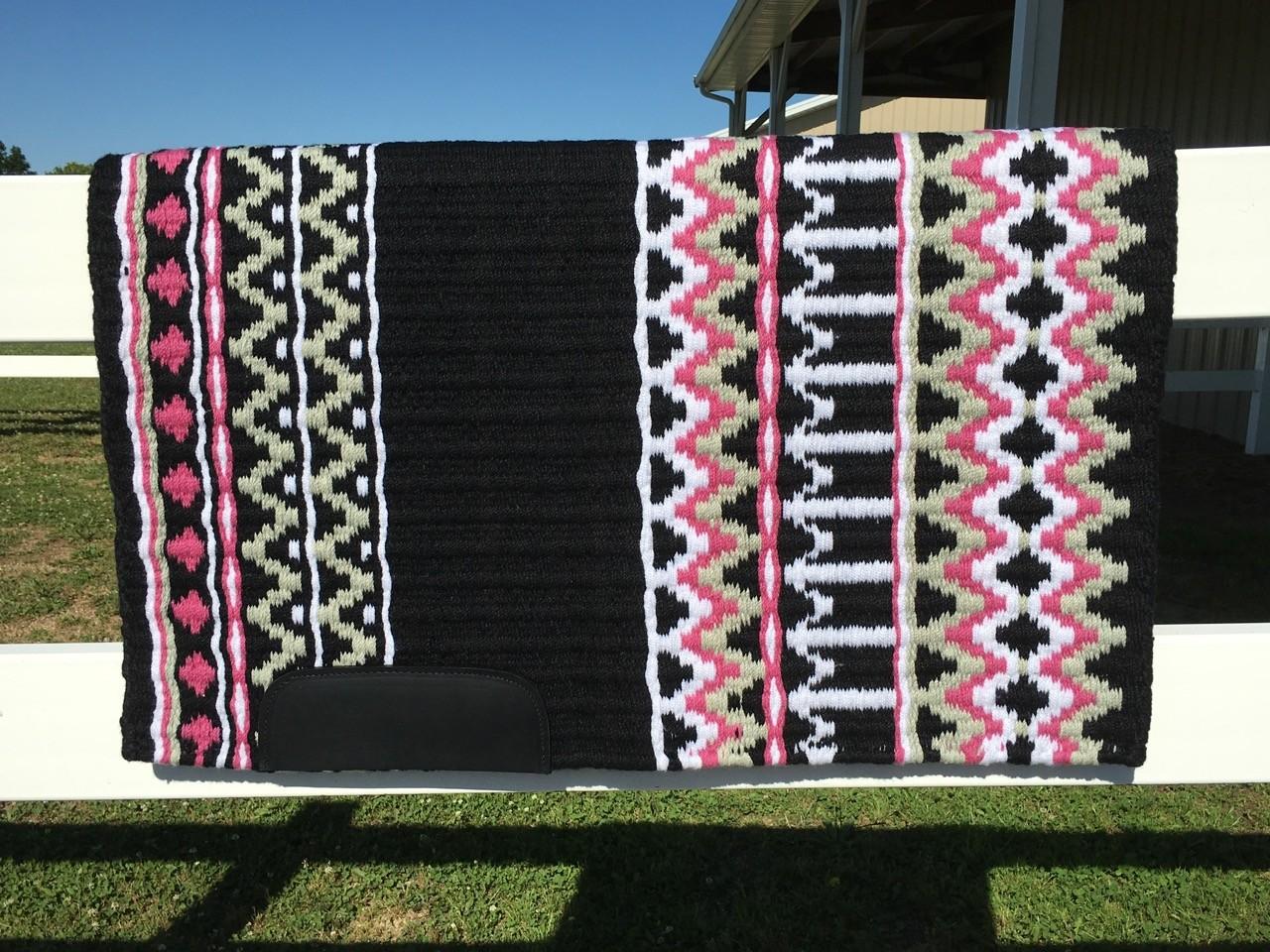 Saddle Pad: Black, White, Mint Green and Fandango Pink