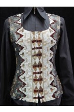 MKC Aztec Sequin Vest - Grey, White, and Rust