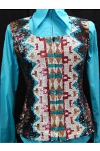 MKC Aztec Sequin Vest - Black, Turquoise, White, and Burgundy