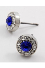 Horse Show Post Earrings - Sapphire  3/8""