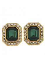 Horse Show Post Earrings -Emerald 5/8""