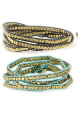 Wrap Bracelet - Gold Metal Bead