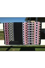 Saddle Pad: Black, White, Mint Green and Fandango Pink