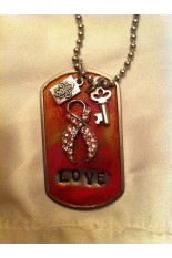 Kate Mesta Tag Necklace - Hope Ribbon and Love