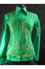 MKC Lace Horse Show Vest - Emerald base with Gold Floral