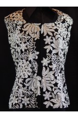 Plus Size Lined Show Vest - Black and White Floral