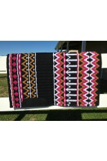 Saddle Pad: Black, White, Caramel and Fuchsia