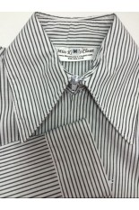 Miss Karla's Closet Striped Fitted Show Shirt - Grey Stripe