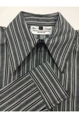 Miss Karla's Closet Striped Fitted Show Shirt - Thick Grey Stripe