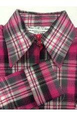 MKC Youth Fitted Show Shirt  - Pink Plaid