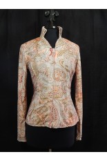 MKC Coral and Taupe Paisley Horse Show Shirt