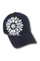 Olive and Pique Hat - Black, Flower