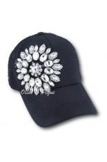 Olive and Pique Hat - Black, Flower