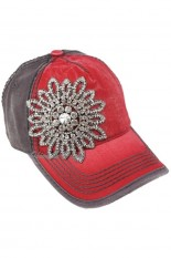 Olive and Pique Hat - Red, Grey