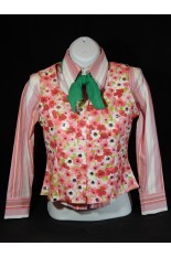 MKC YOUTH Horse Show Vest - White, Pink, Red, Green Floral