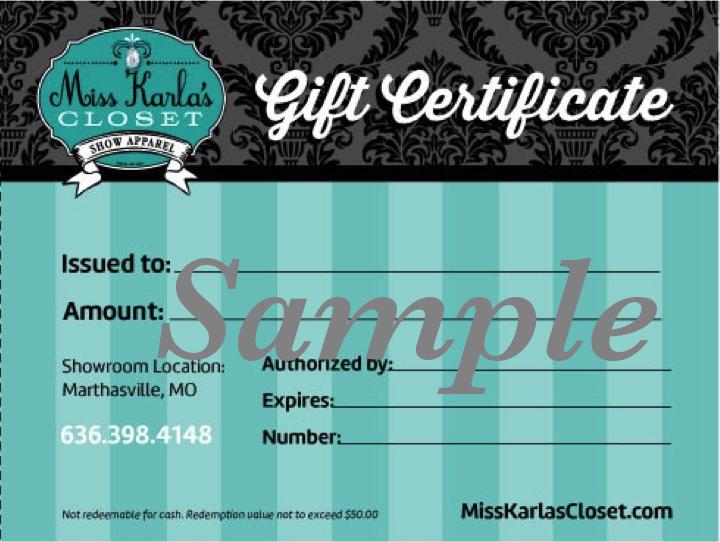 Miss Karlas Closet Gift Certificate Sample